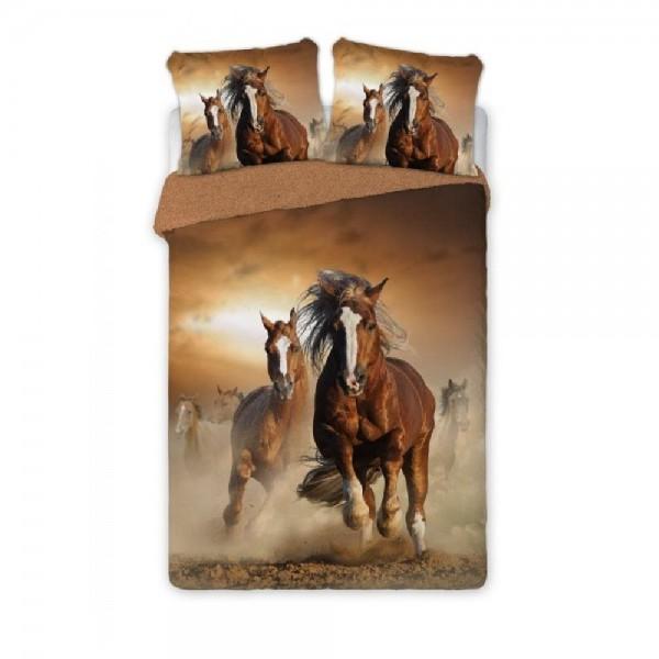Lenjerie de pat dublu bumbac percale, HORSES