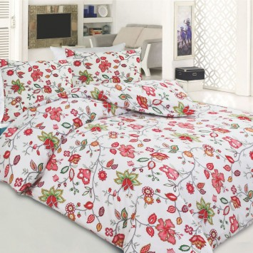 Lenjerie Flanel GARDEN RED - 100% Bumbac