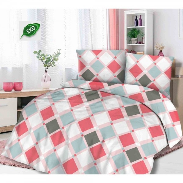 Lenjerie Flanel FINE CARO - PINK - 100% Bumbac