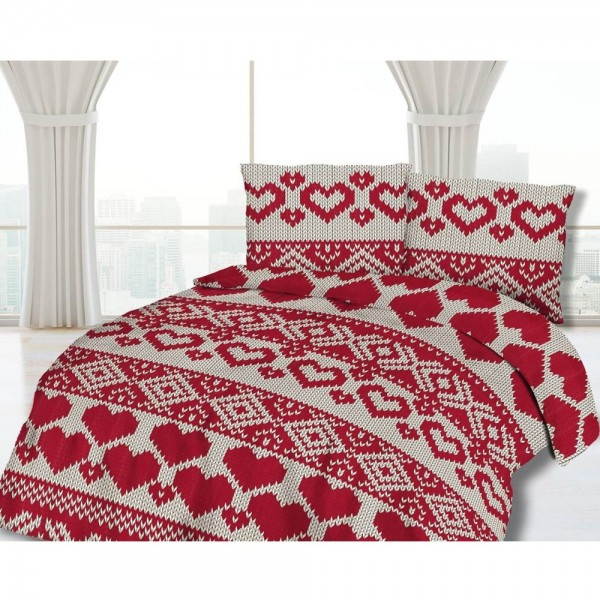 Lenjerie Flanel KNITTED HEARTS - 100% Bumbac