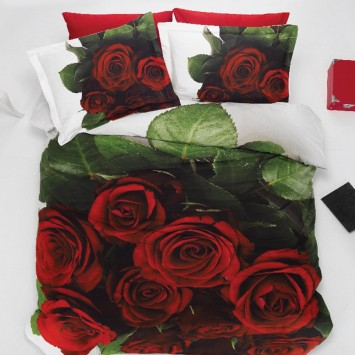 Lenjerie 3D bumbac Ranforce RED ROSE - 2 persoane - Oferta!!