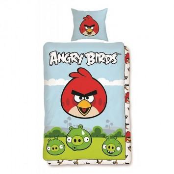 Lenjerie ANGRY BIRDS copii  - 116 - bumbac Ranforce - Oferta!!